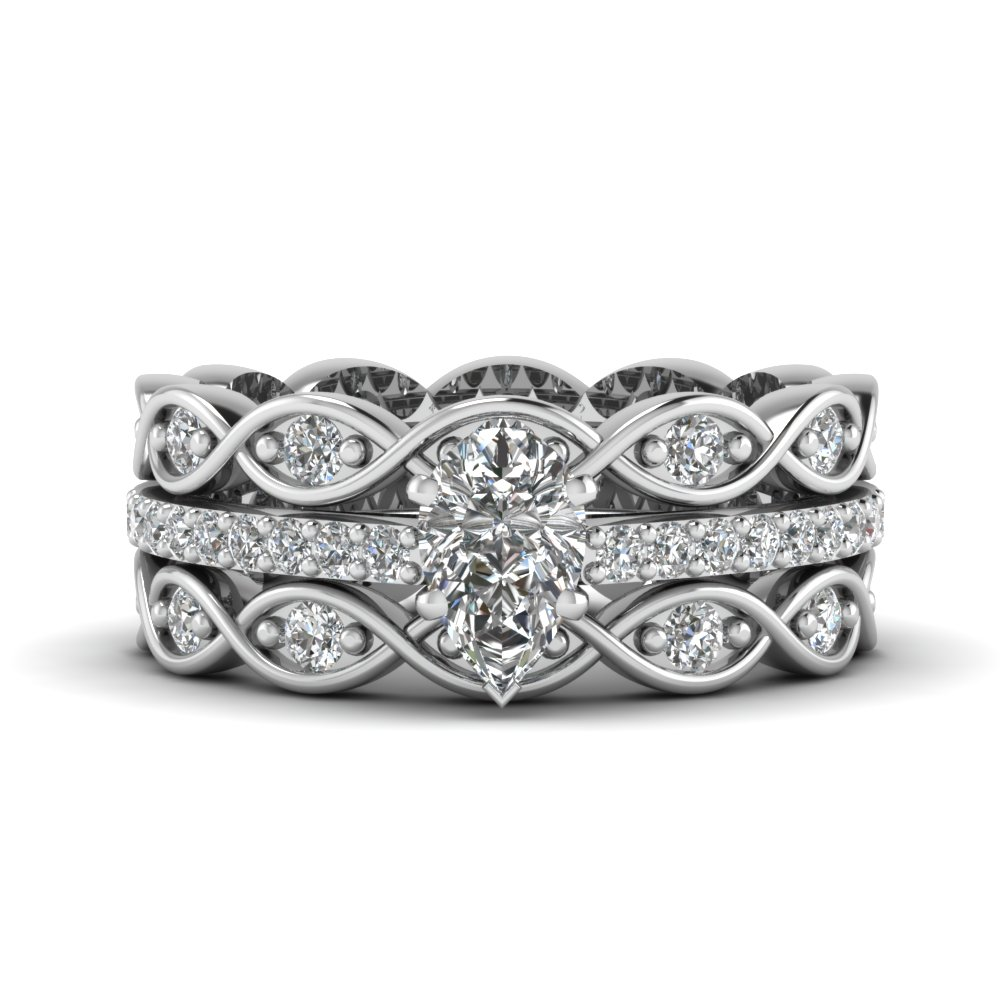 Pear Infinity Trio Wedding Ring Set