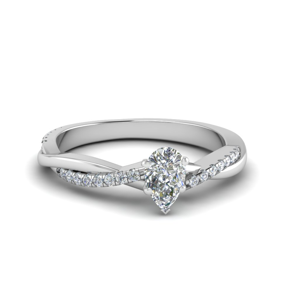 pear shaped Infinity twist diamond engagement ring in 14K white gold FD8253PE NL WG