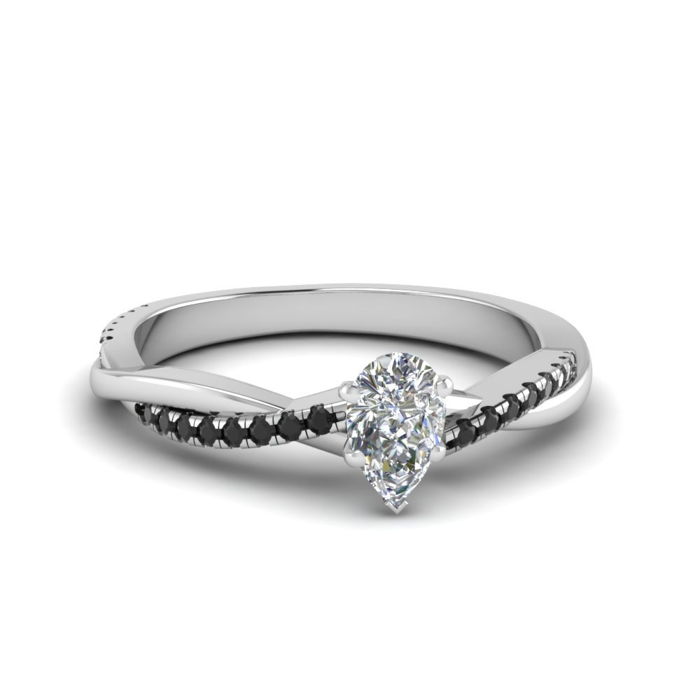 pear shaped infinity twist engagement ring with black diamond in FD8253PERGBLACK NL WG