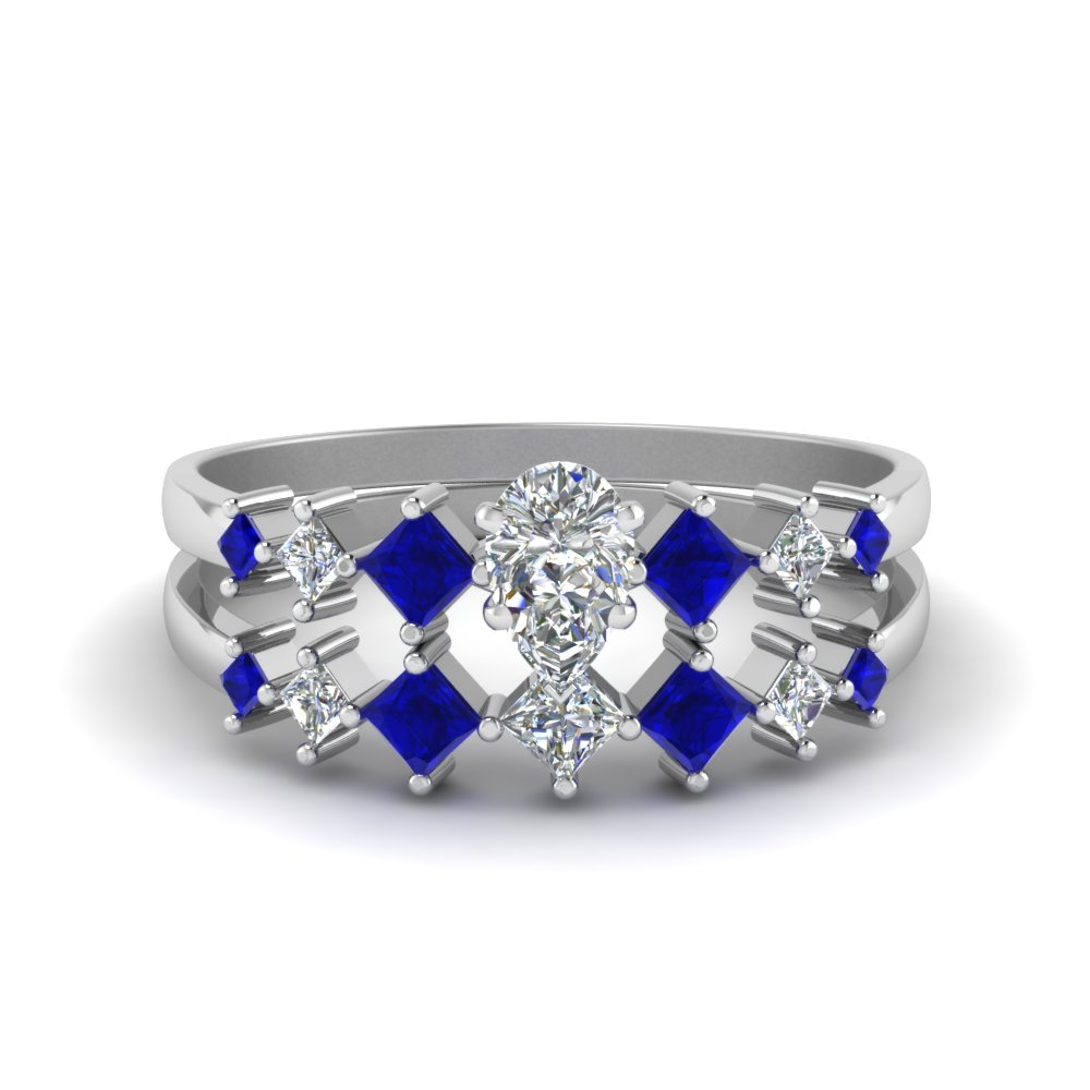 Pear Shaped Blue Sapphire Wedding Sets
