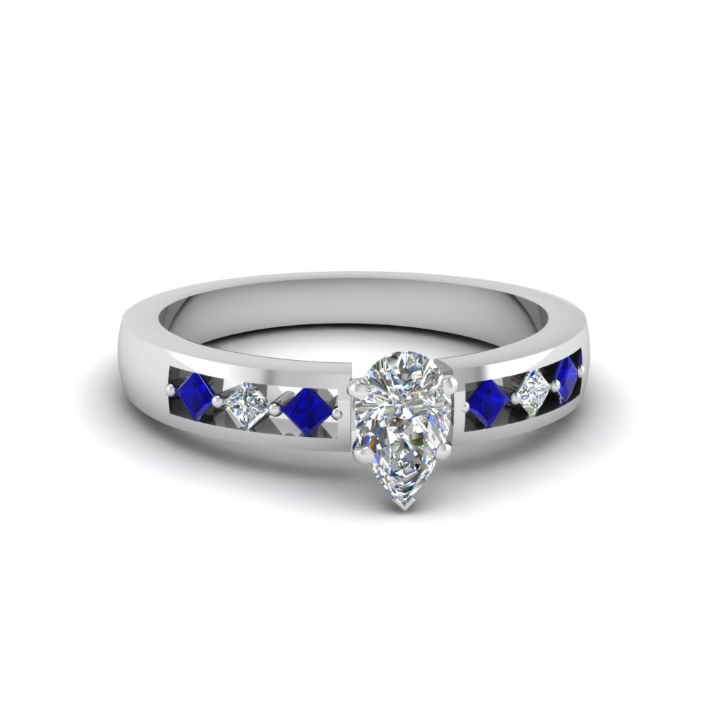 pear shaped kite set diamond engagement ring for women with blue sapphire in FDENS3075PERGSABL NL WG
