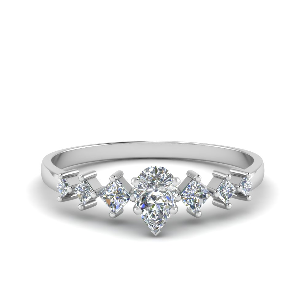 pear shaped kite set diamond ring in 950 Platinum FDENS3126PER NL WG