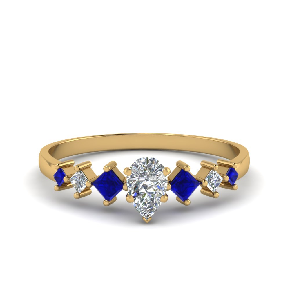 pear shaped kite set diamond ring with sapphire in 14K yellow gold FDENS3126PERGSABL NL YG