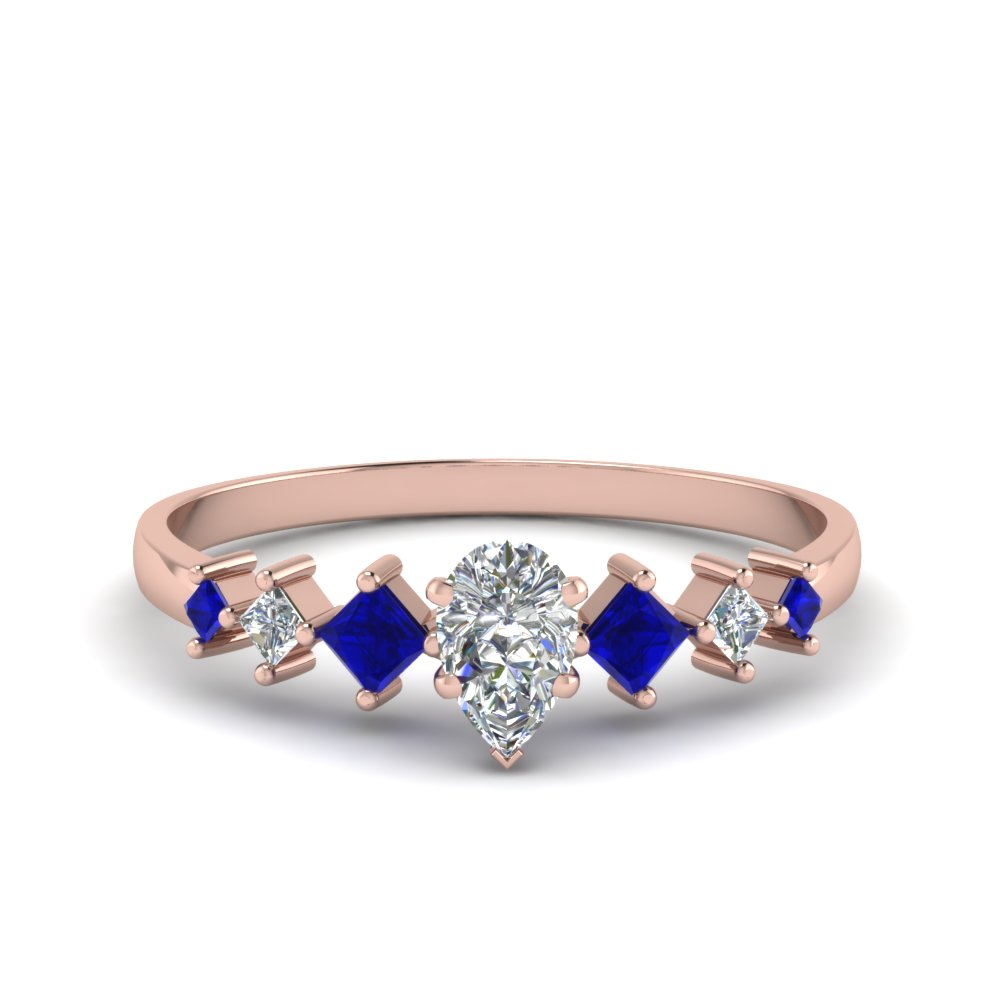 pear shaped kite set diamond ring with blue sapphire in 18K rose gold FDENS3126PERGSABL NL RG