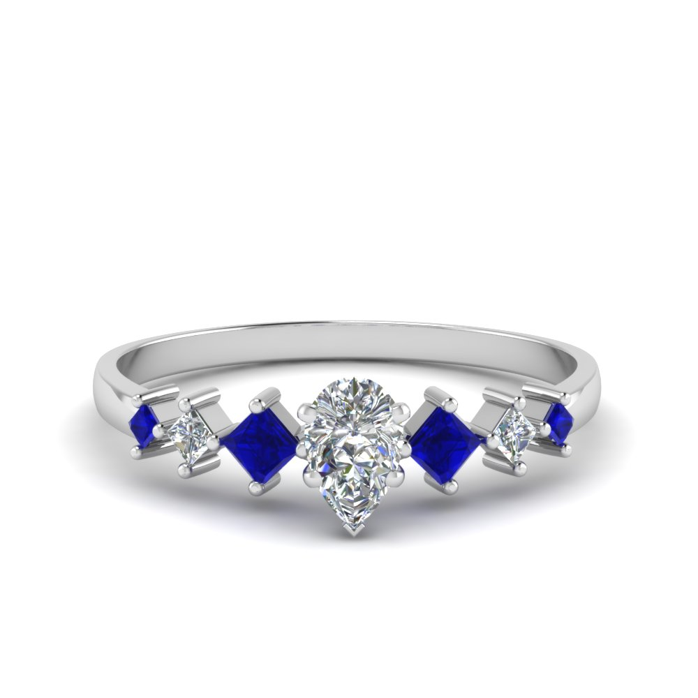 pear shaped kite set diamond ring with blue sapphire in 18K white gold FDENS3126PERGSABL NL WG