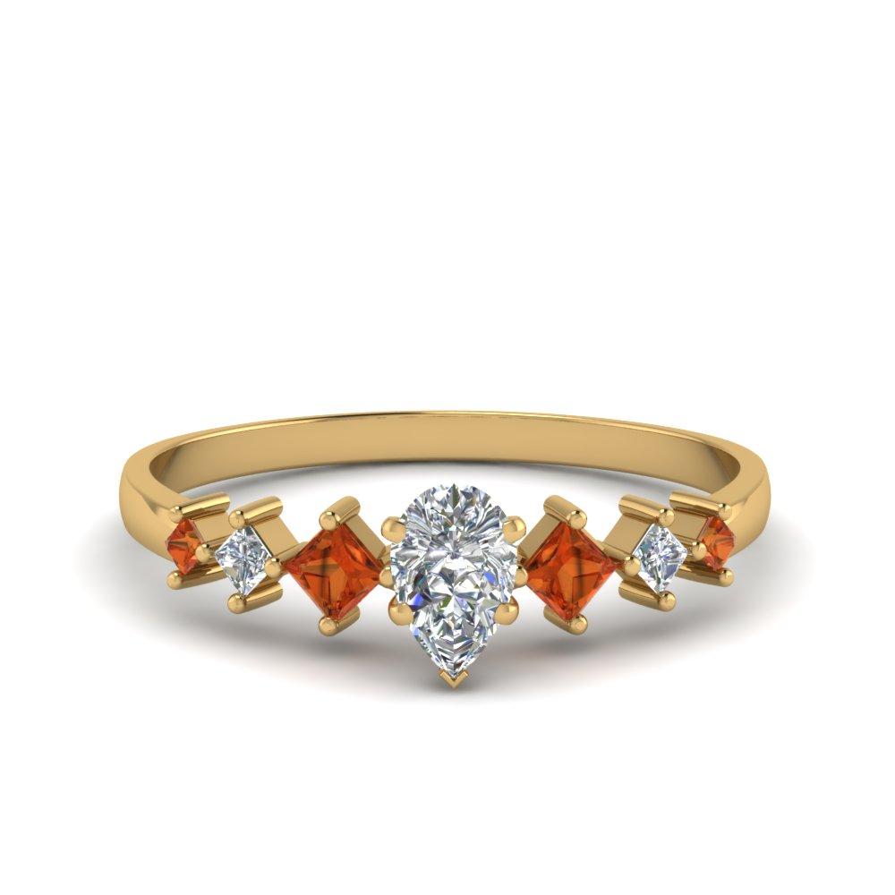 pear shaped kite set diamond ring with orange sapphire in 14K yellow gold FDENS3126PERGSAOR NL YG
