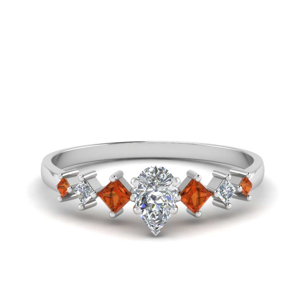 pear shaped kite set diamond ring with orange sapphire in 18K white gold FDENS3126PERGSAOR NL WG