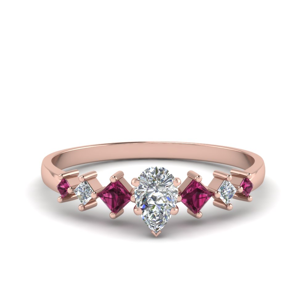 pear shaped kite set diamond ring with pink sapphire in 18K rose gold FDENS3126PERGSADRPI NL RG