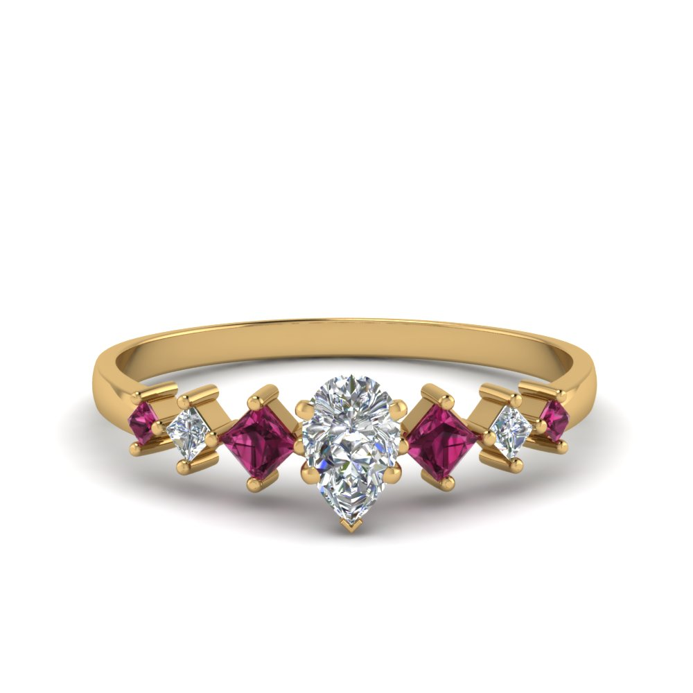 pear shaped kite set diamond ring with pink sapphire in 18K yellow gold FDENS3126PERGSADRPI NL YG