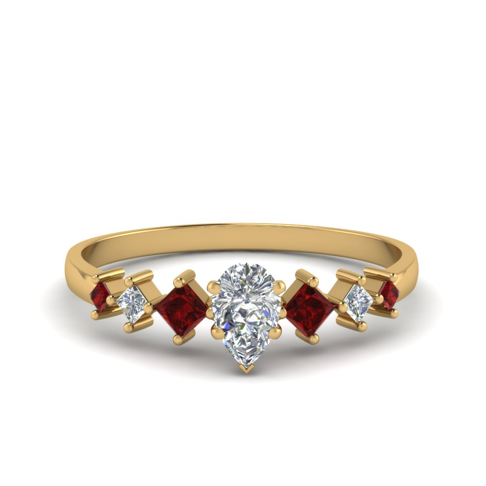 pear shaped kite set diamond ring with ruby in 14K yellow gold FDENS3126PERGRUDR NL YG
