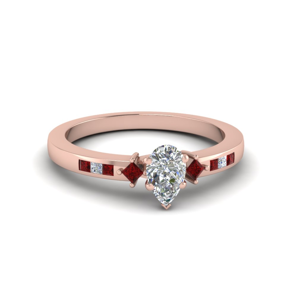 pear shaped kite with channel set accent diamond engagement ring with ruby in FDENS3121PERGRUDR NL RG