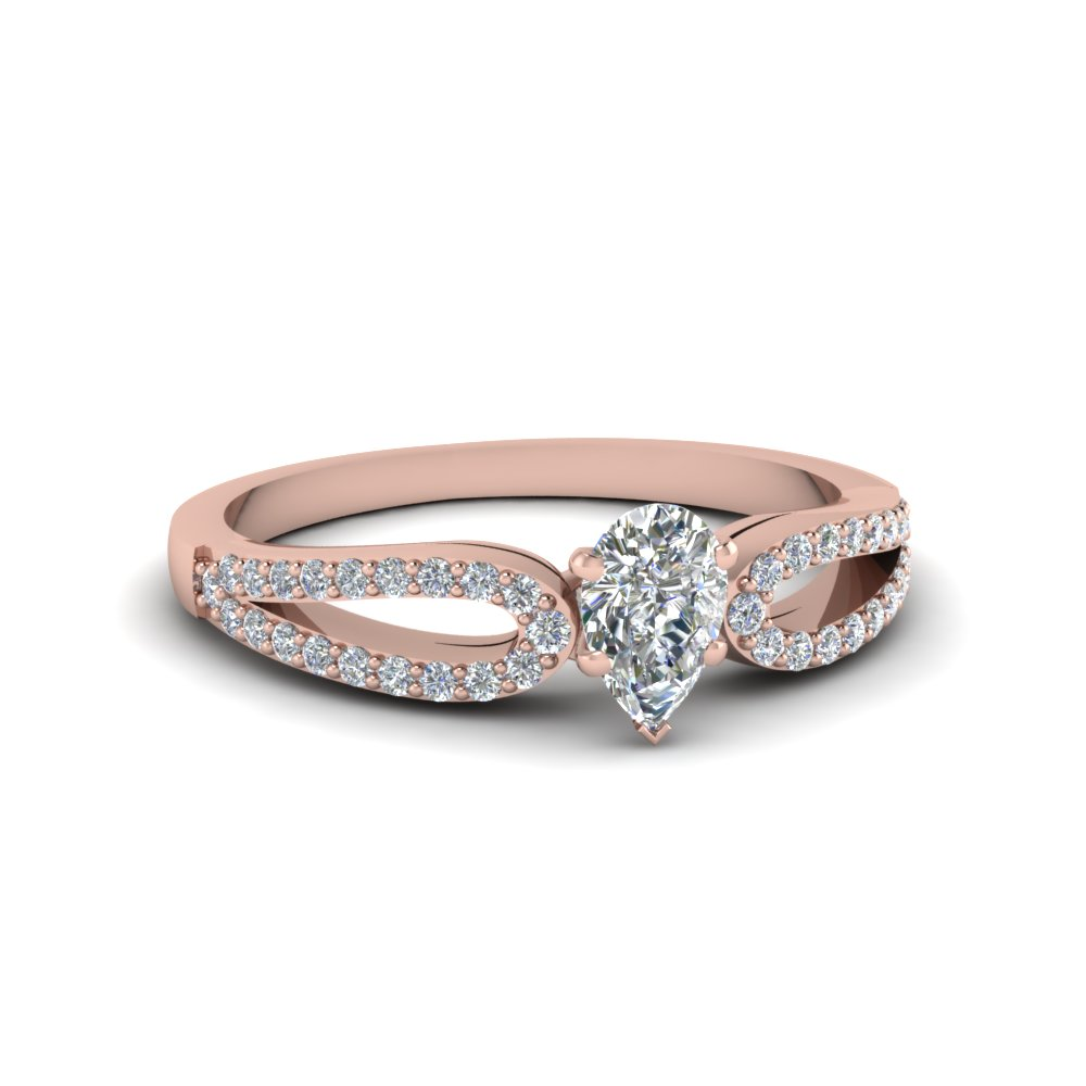 Pear Shaped Loop Diamond Engagement Ring In 14K Rose Gold