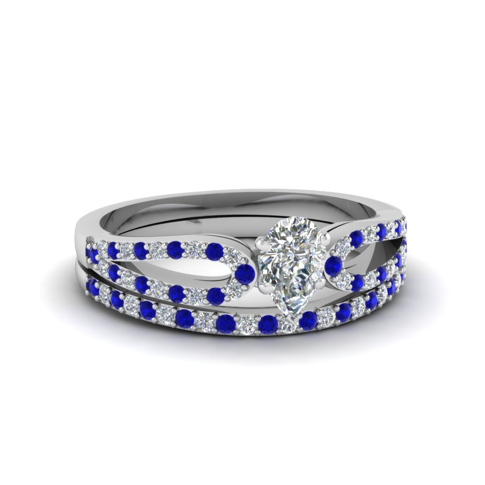 pear shaped loop diamond ring with sapphire matching band in 14K white gold FDENS3323PEGSABL NL WG