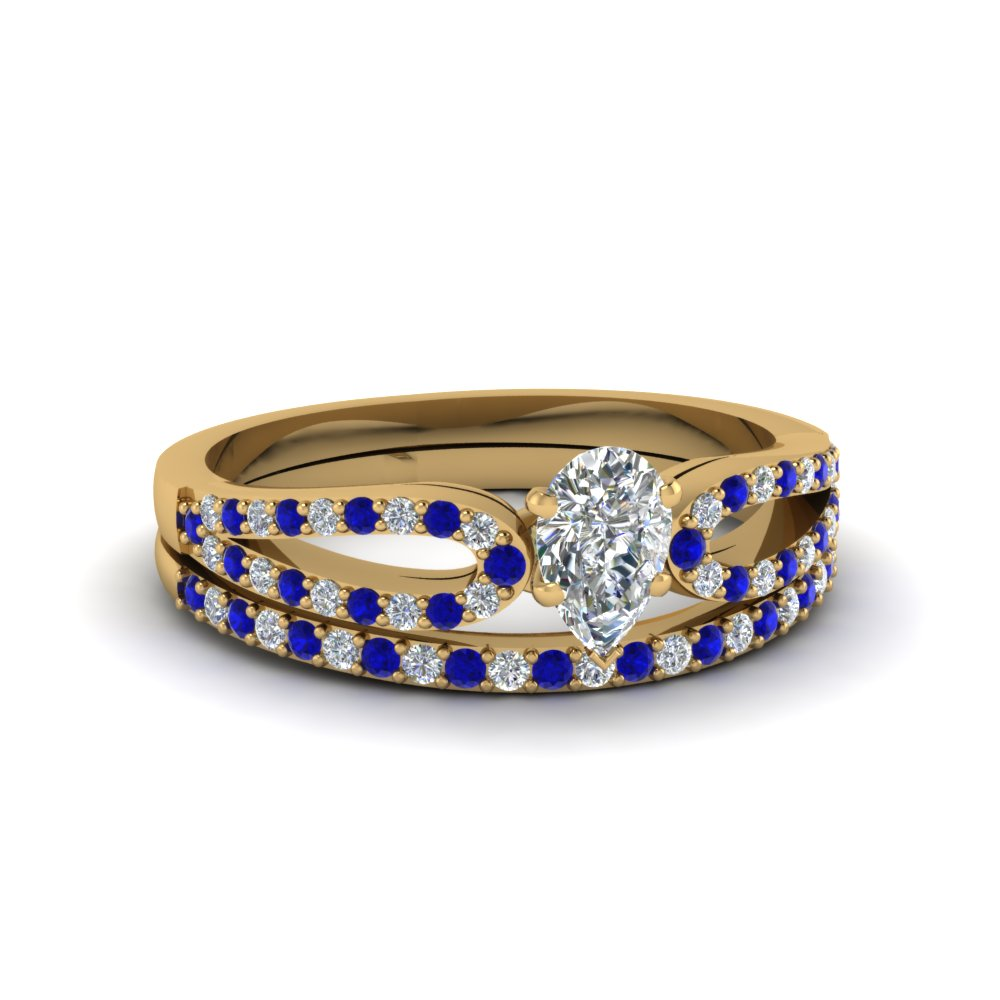 pear shaped loop diamond ring with sapphire matching band in 14K yellow gold FDENS3323PEGSABL NL YG