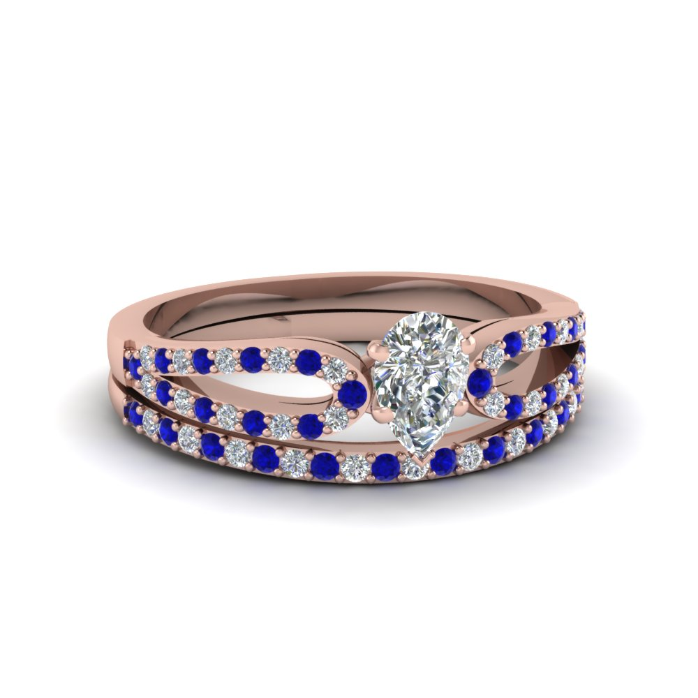 pear shaped loop diamond ring with sapphire matching band in 18K rose gold FDENS3323PEGSABL NL RG
