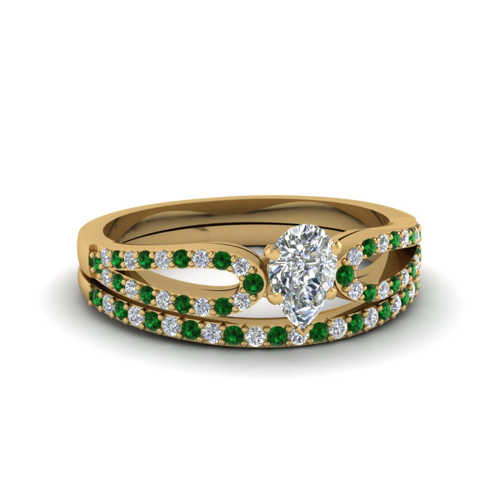 pear shaped loop diamond ring with emerald matching band in 14K yellow gold FDENS3323PEGEMGR NL YG