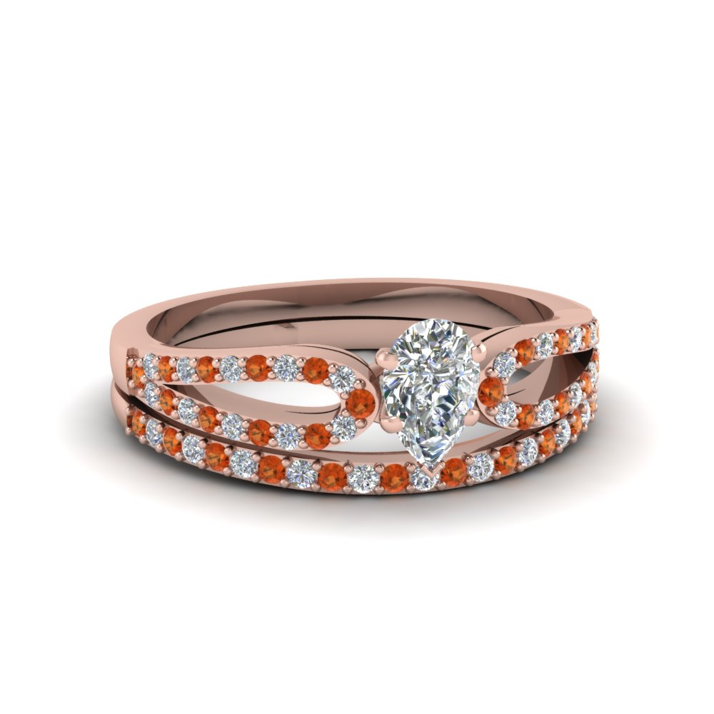 pear shaped loop diamond ring with orange sapphire matching band in 14K rose gold FDENS3323PEGSAOR NL RG