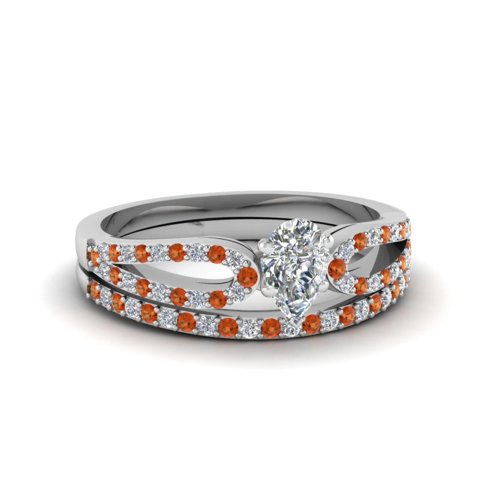 pear shaped loop diamond ring with orange sapphire matching band in 18K white gold FDENS3323PEGSAOR NL WG