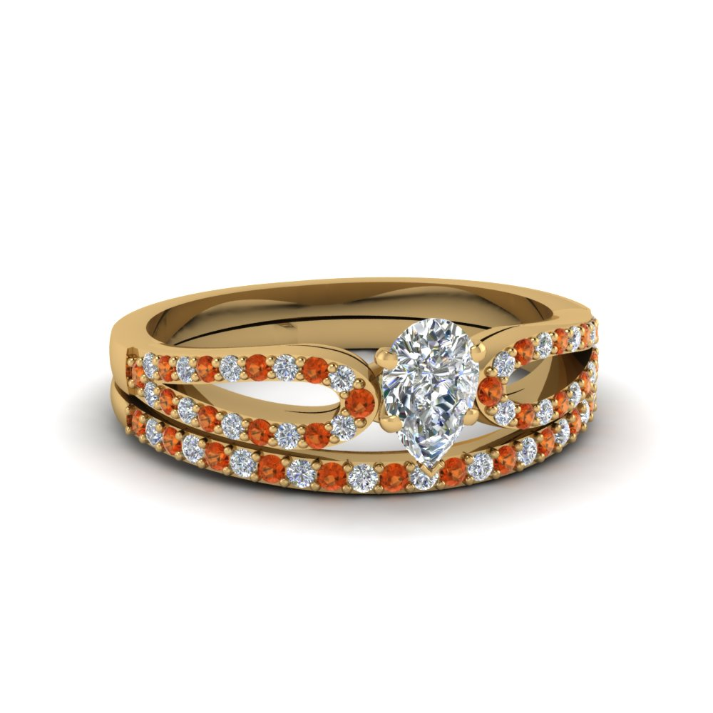 pear shaped loop diamond ring with orange sapphire matching band in 18K yellow gold FDENS3323PEGSAOR NL YG