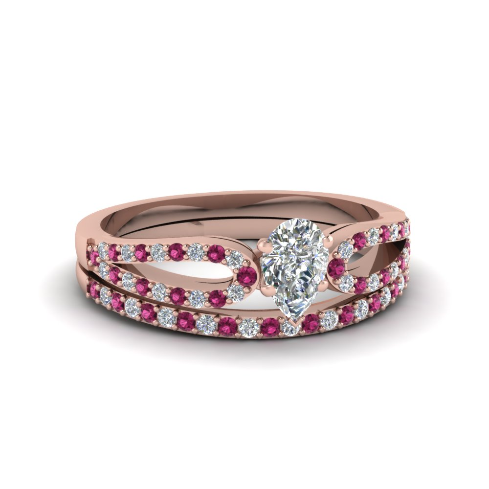 pear shaped loop diamond ring with pink sapphire matching band in 14K rose gold FDENS3323PEGSADRPI NL RG
