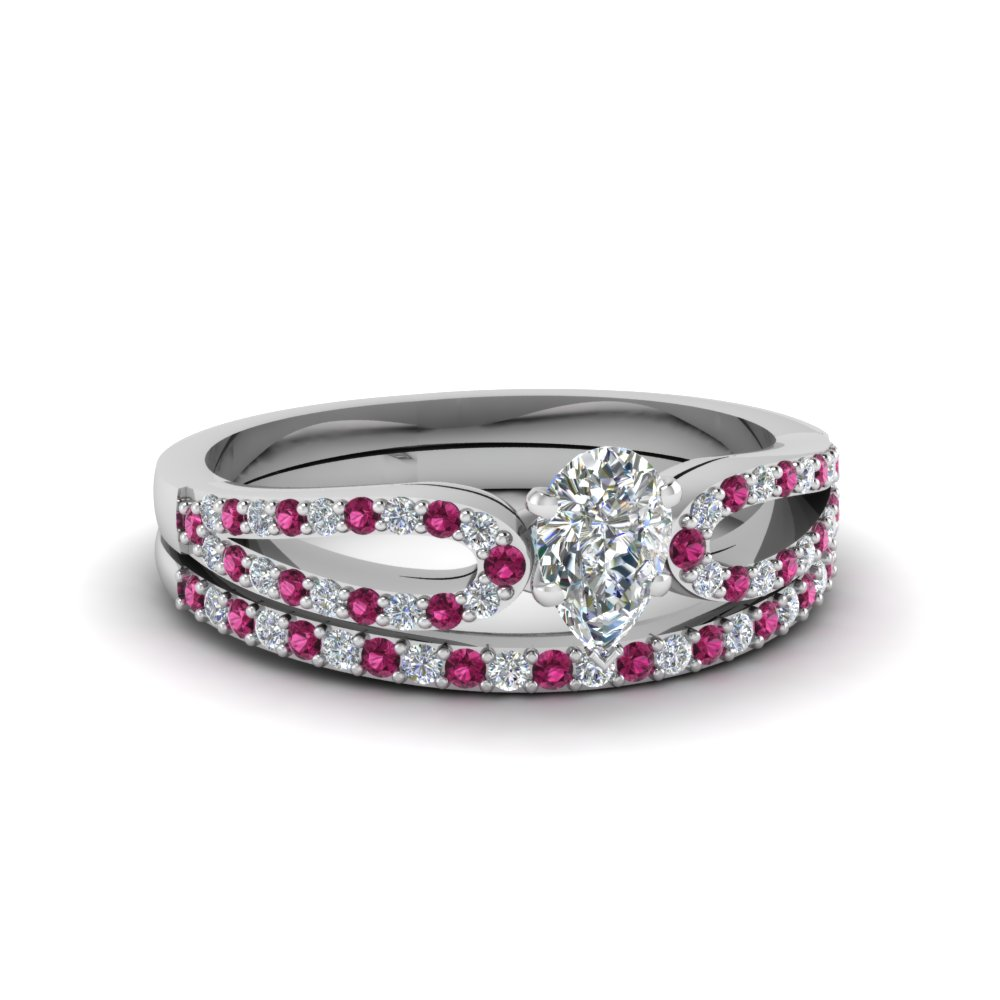pear shaped loop diamond ring with pink sapphire matching band in 14K white gold FDENS3323PEGSADRPI NL WG