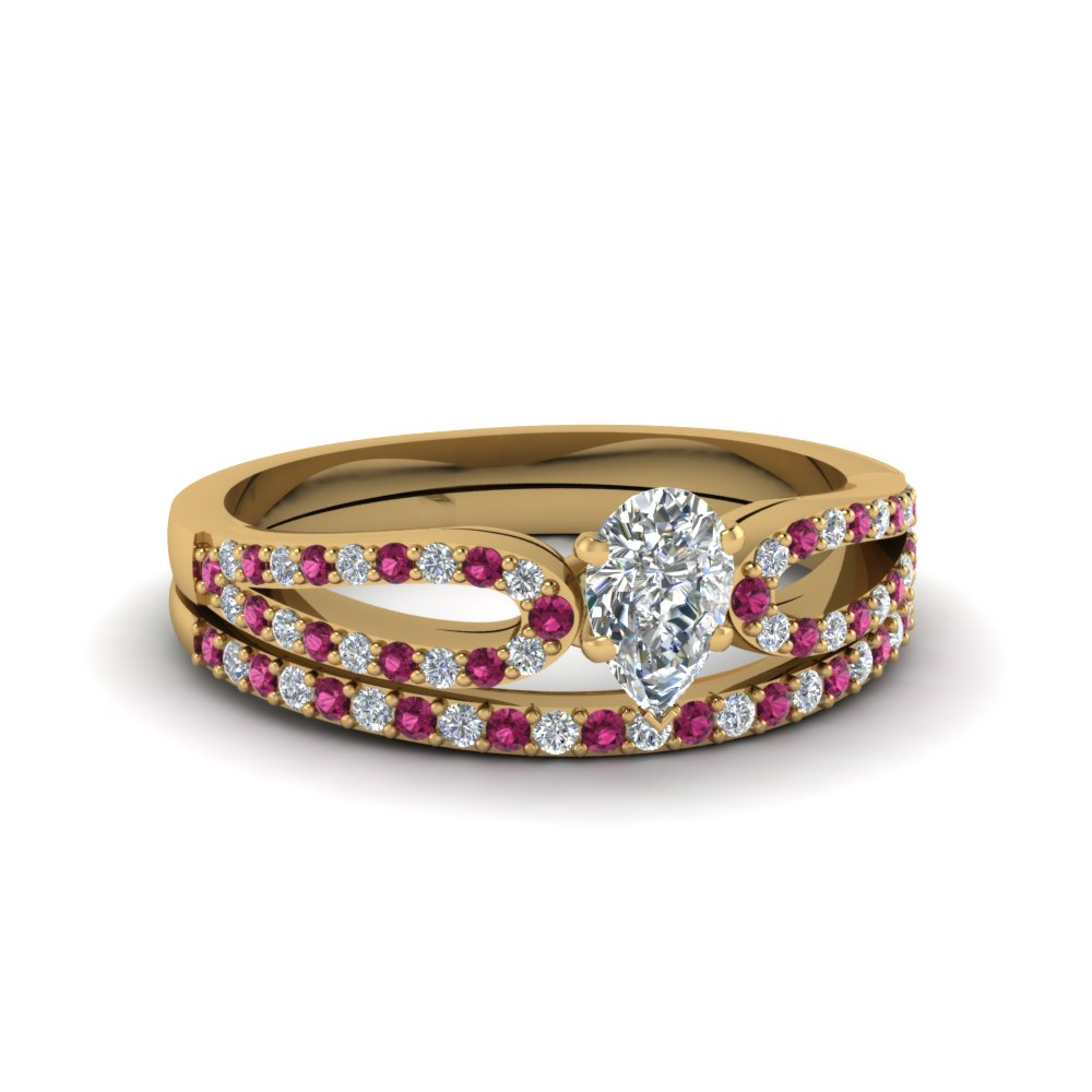 pear shaped loop diamond ring with pink sapphire matching band in 18K yellow gold FDENS3323PEGSADRPI NL YG