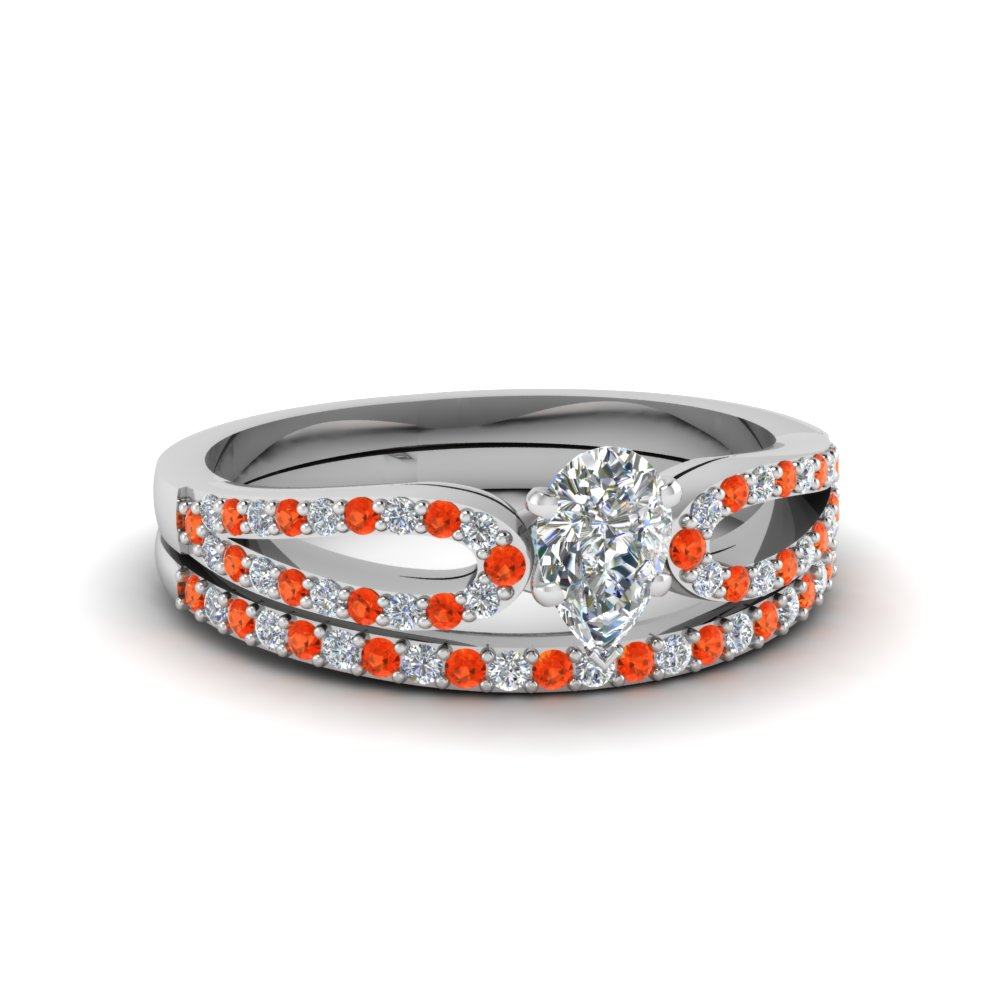 pear shaped loop diamond ring with orange topaz matching band in 14K white gold FDENS3323PEGPOTO NL WG
