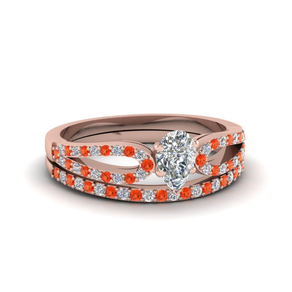 pear shaped loop diamond ring with orange topaz matching band in 18K rose gold FDENS3323PEGPOTO NL RG