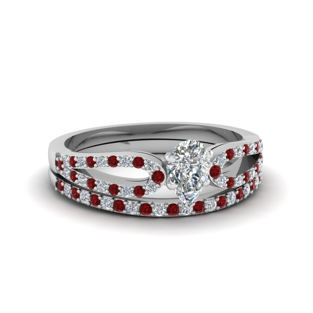 pear shaped loop diamond ring with ruby matching band in 14K white gold FDENS3323PEGRUDR NL WG