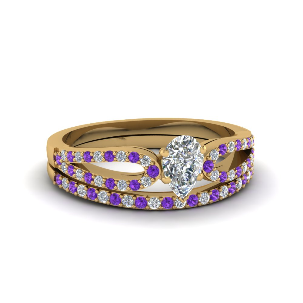 pear shaped loop diamond ring with violet topaz matching band in 18K yellow gold FDENS3323PEGVITO NL YG