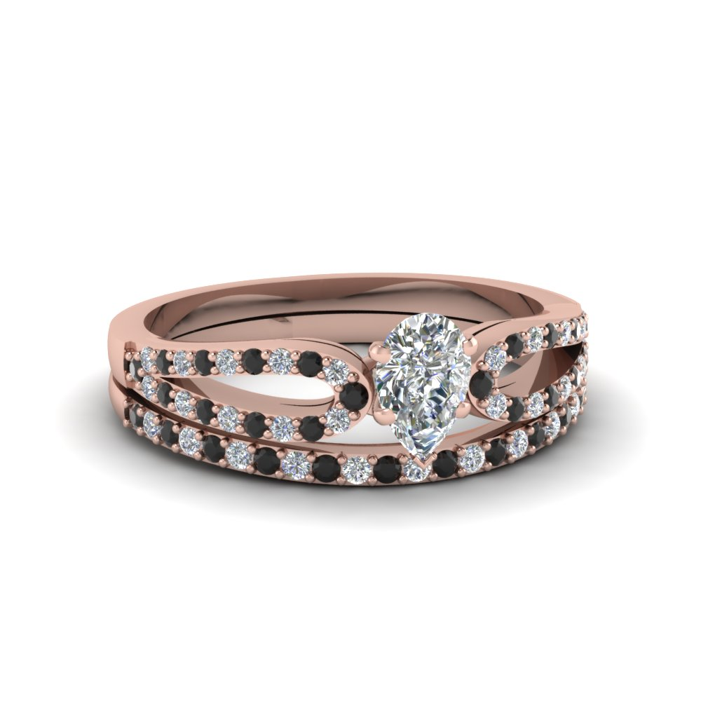 pear shaped loop ring with black diamond matching band in 14K rose gold FDENS3323PEGBLACK NL RG