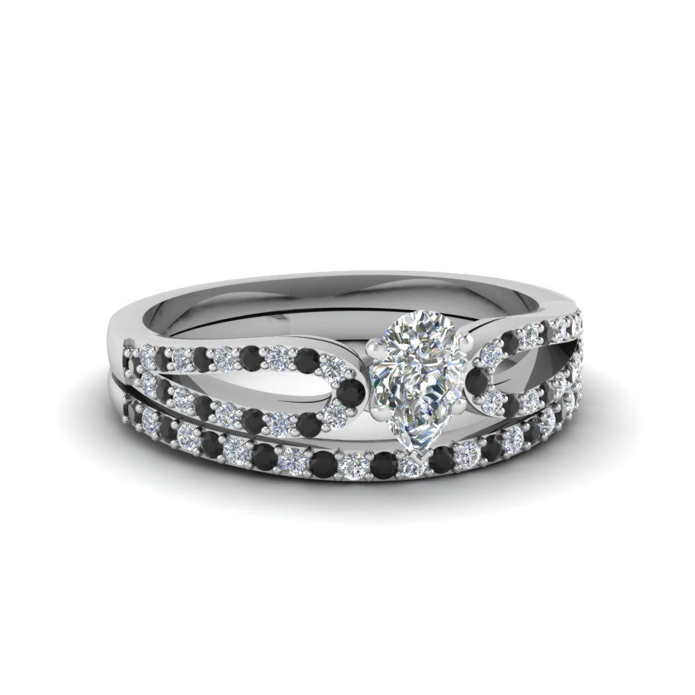 pear shaped loop ring with black diamond matching band in 18K white gold FDENS3323PEGBLACK NL WG