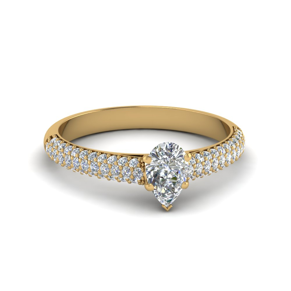 pear shaped micropave natural diamond engagement ring in 14K yellow gold FD8254PER NL YG