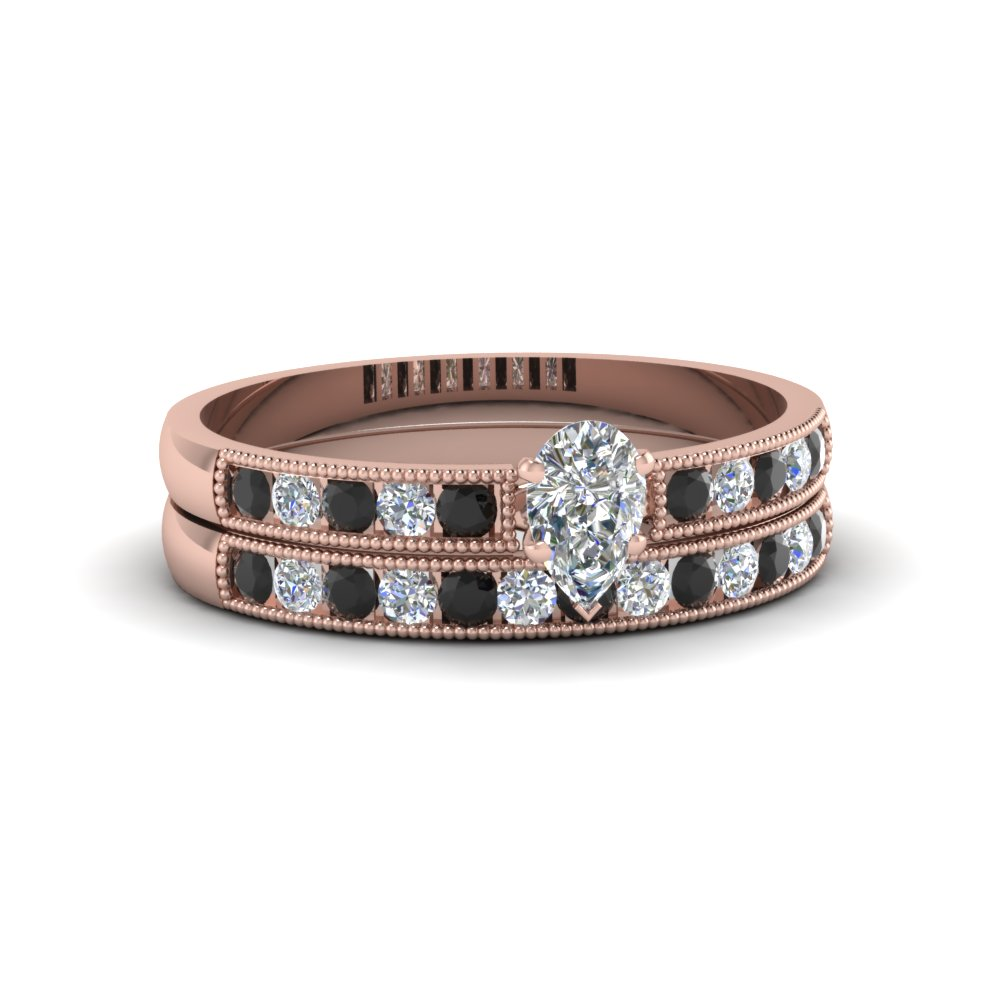 pear shaped milgrain design wedding set with black diamond in 14K rose gold FDENS3054PEGBLACK NL RG