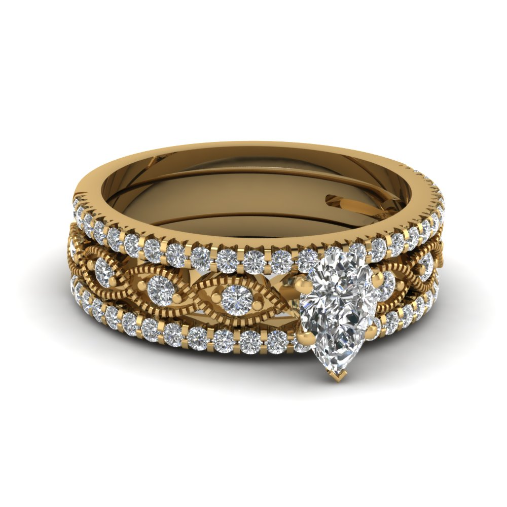 Pear Milgrain Trio Wedding Ring Set