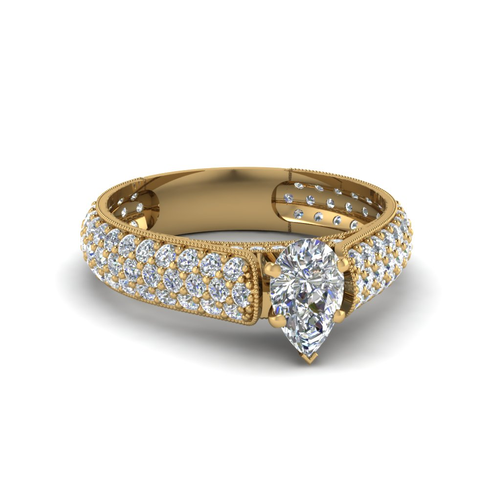pear shaped milgrain multi row pave diamond engagement ring in 18K yellow gold FDENS1452PER NL YG
