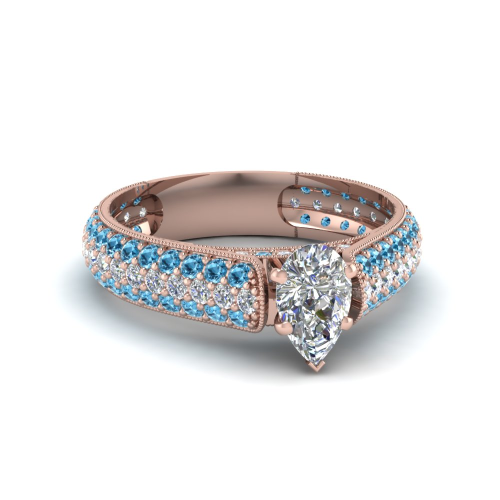 pear shaped milgrain multi row pave diamond engagement ring with blue topaz in 14K rose gold FDENS1452PERGICBLTO NL RG