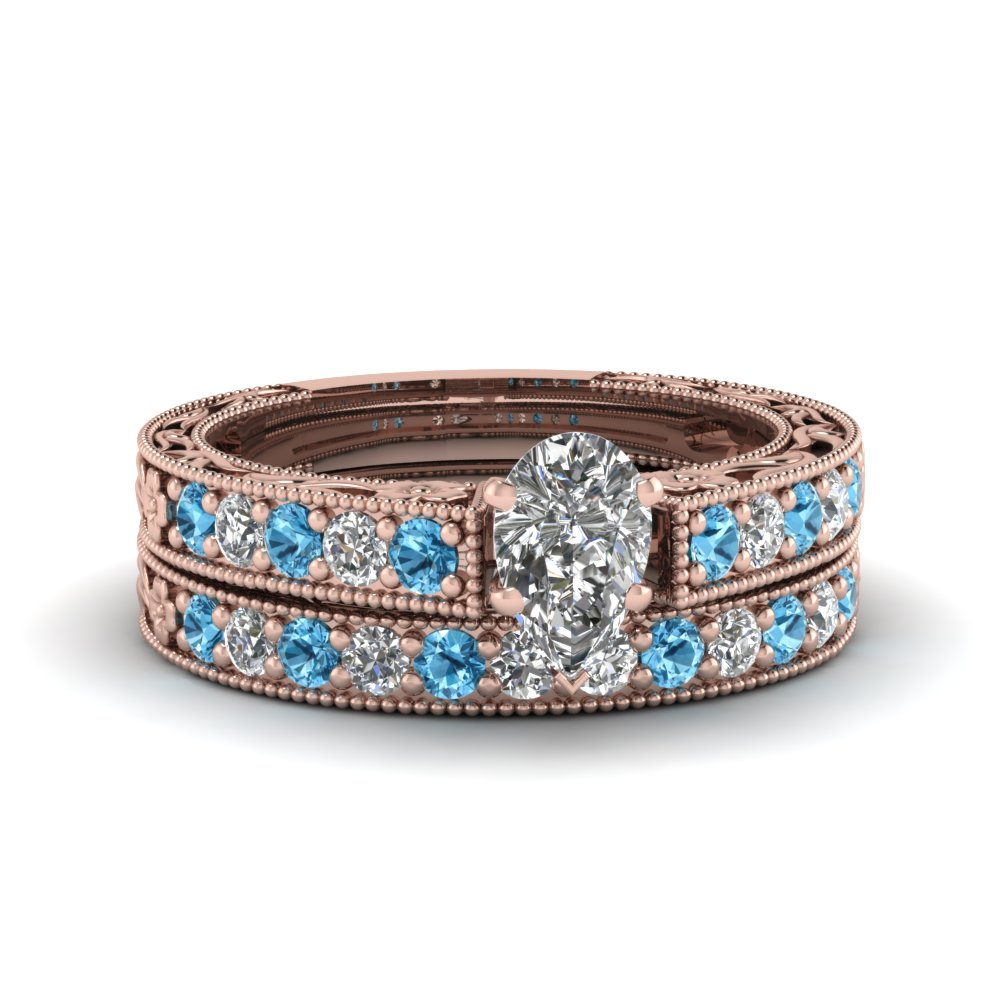 pear shaped milgrain pave diamond wedding ring sets with blue topaz in FDENS3506PEGICBLTO NL RG
