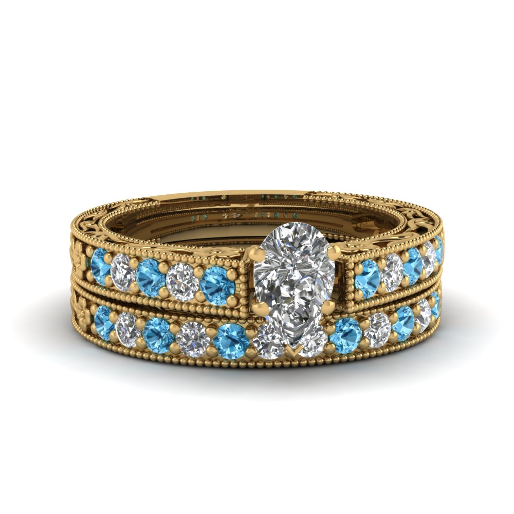 pear shaped milgrain pave lab diamond wedding ring sets with blue topaz in FDENS3506PEGICBLTO NL YG
