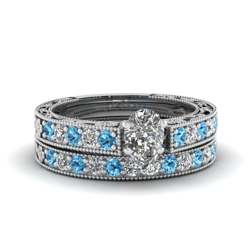 pear shaped milgrain pave lab diamond wedding ring sets with blue topaz in FDENS3506PEGICBLTO NL WG