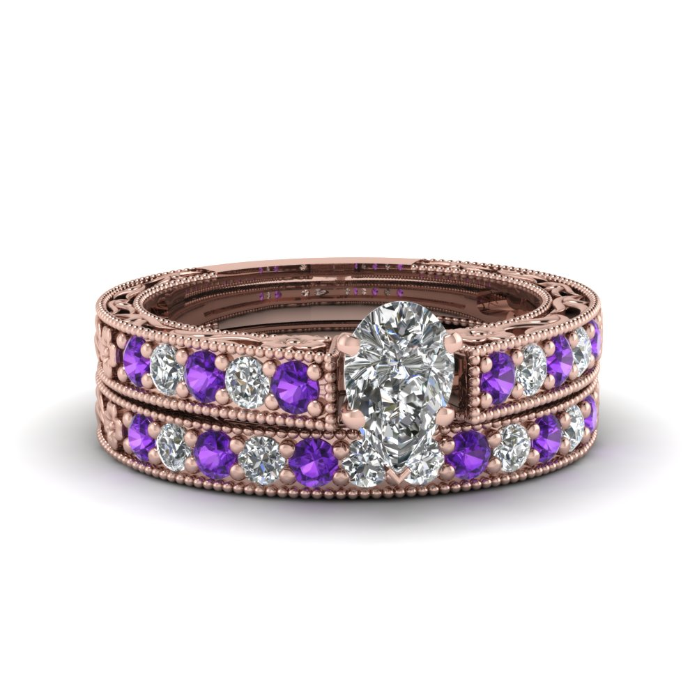 pear shaped milgrain pave moissanite wedding ring sets with purple topaz in FDENS3506PEGVITO NL RG