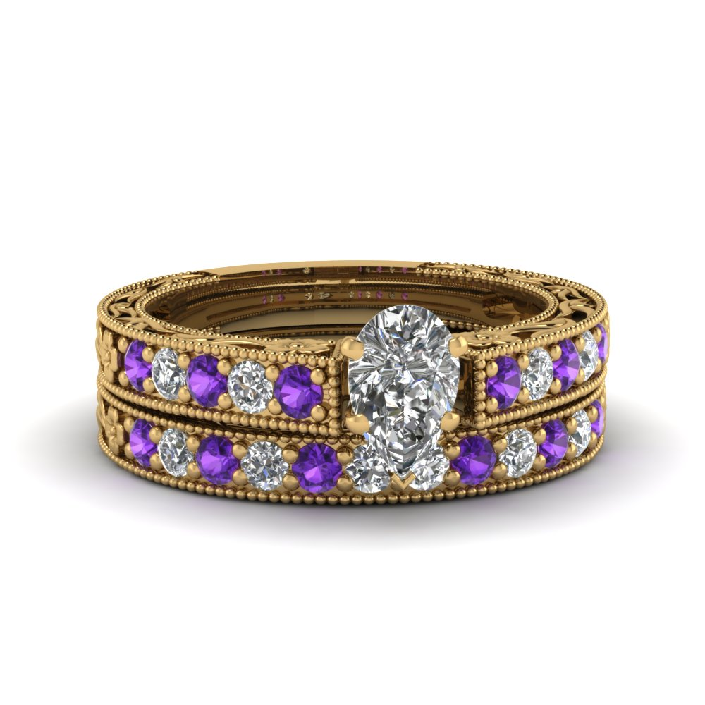 pear shaped milgrain pave lab diamond wedding ring sets with purple topaz in FDENS3506PEGVITO NL YG