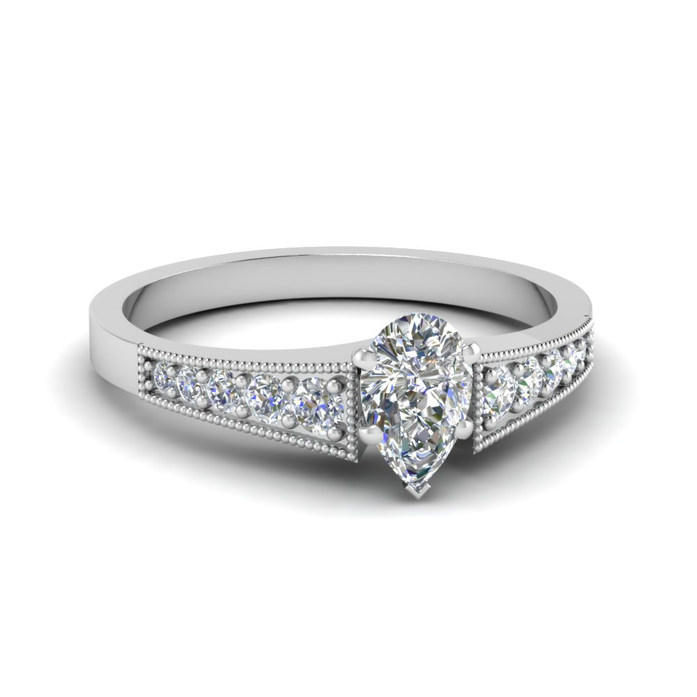 Half Carat Pear Cut Wedding Rings
