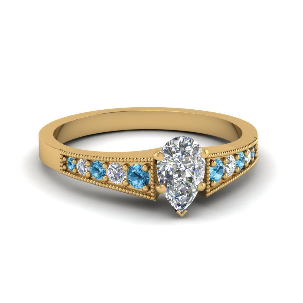Pave Set Gold Diamond And Topaz Ring