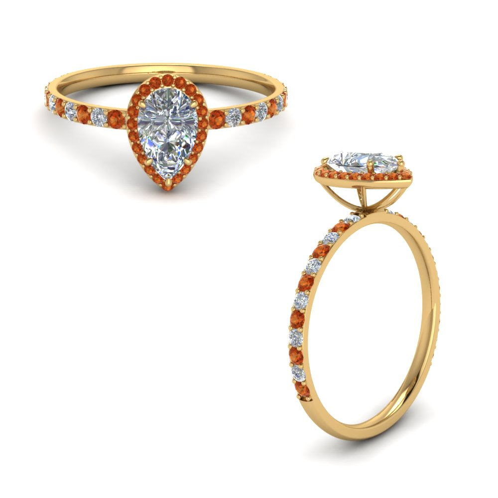 pear shaped orange sapphire halo diamond engagement ring in FD8513PERGSAORANGLE1 NL YG