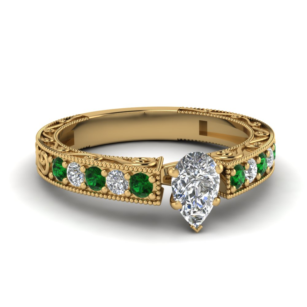 Emerald Vintage Engagement Rings With Pear Diamond