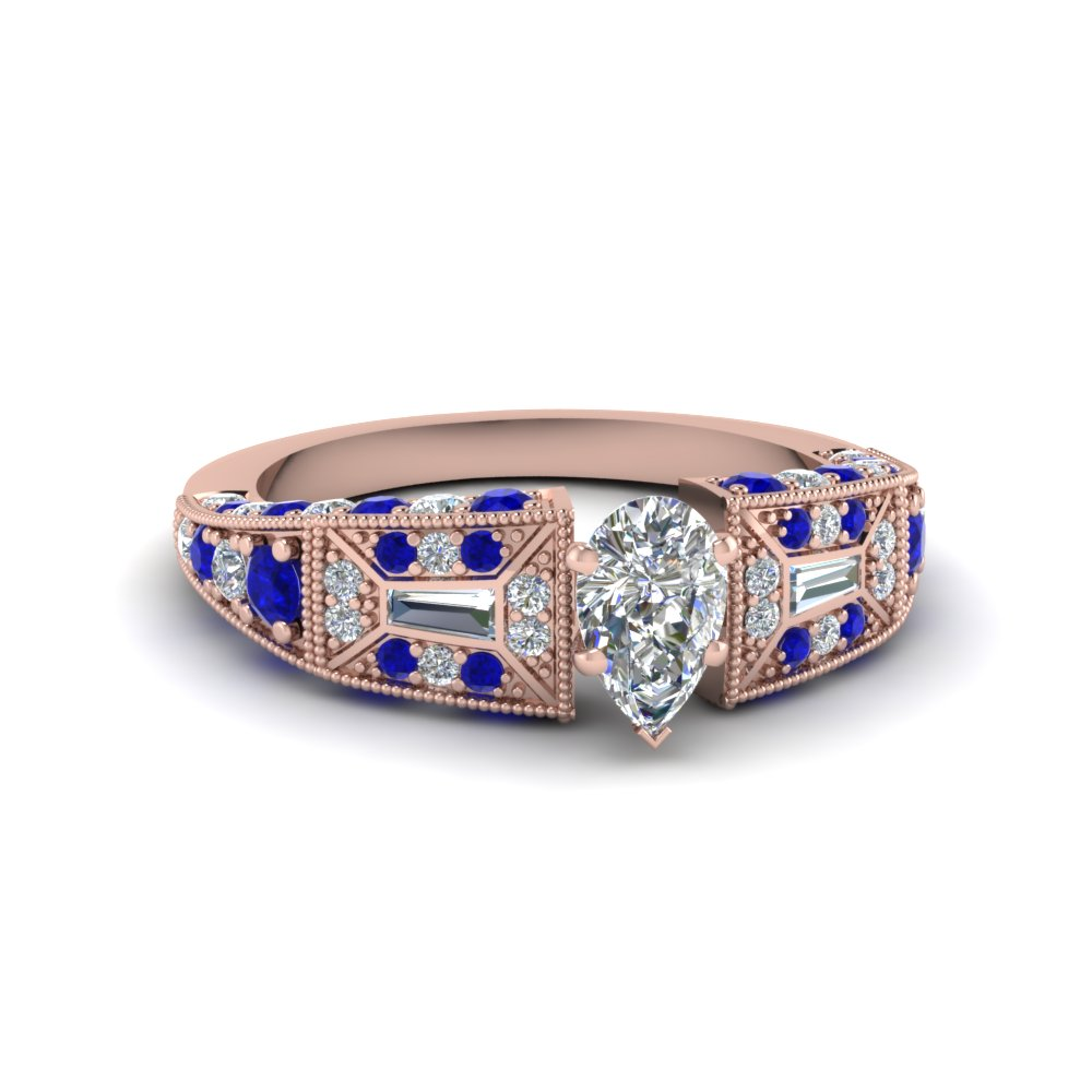 pear shaped victorian vintage style diamond engagement ring with sapphire in FDENR8601PERGSABL NL RG