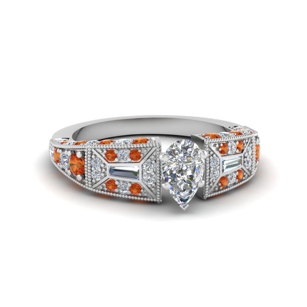 pear shaped victorian vintage style diamond engagement ring with orange sapphire in FDENR8601PERGSAOR NL WG