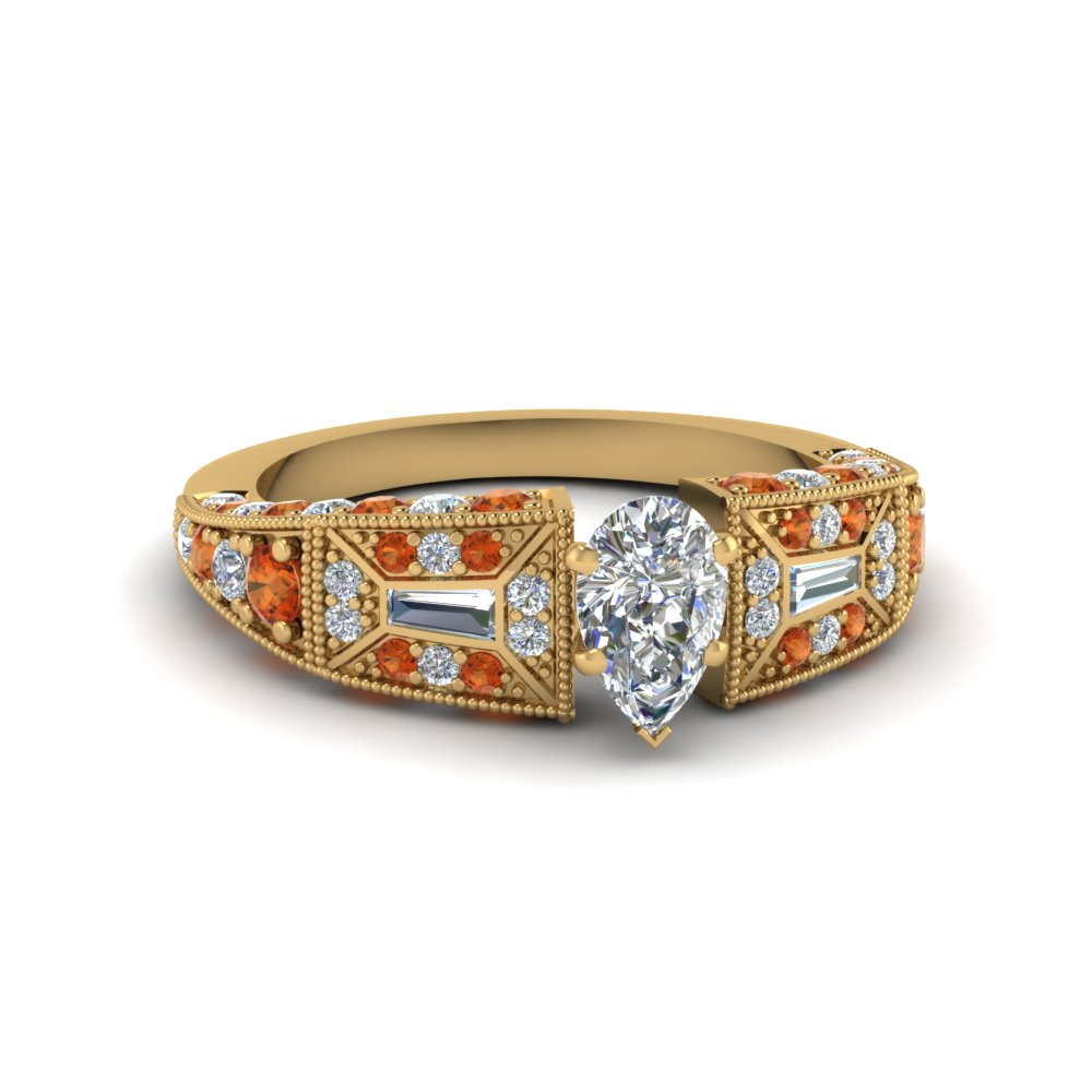 pear shaped victorian vintage style diamond engagement ring with orange sapphire in FDENR8601PERGSAOR NL YG
