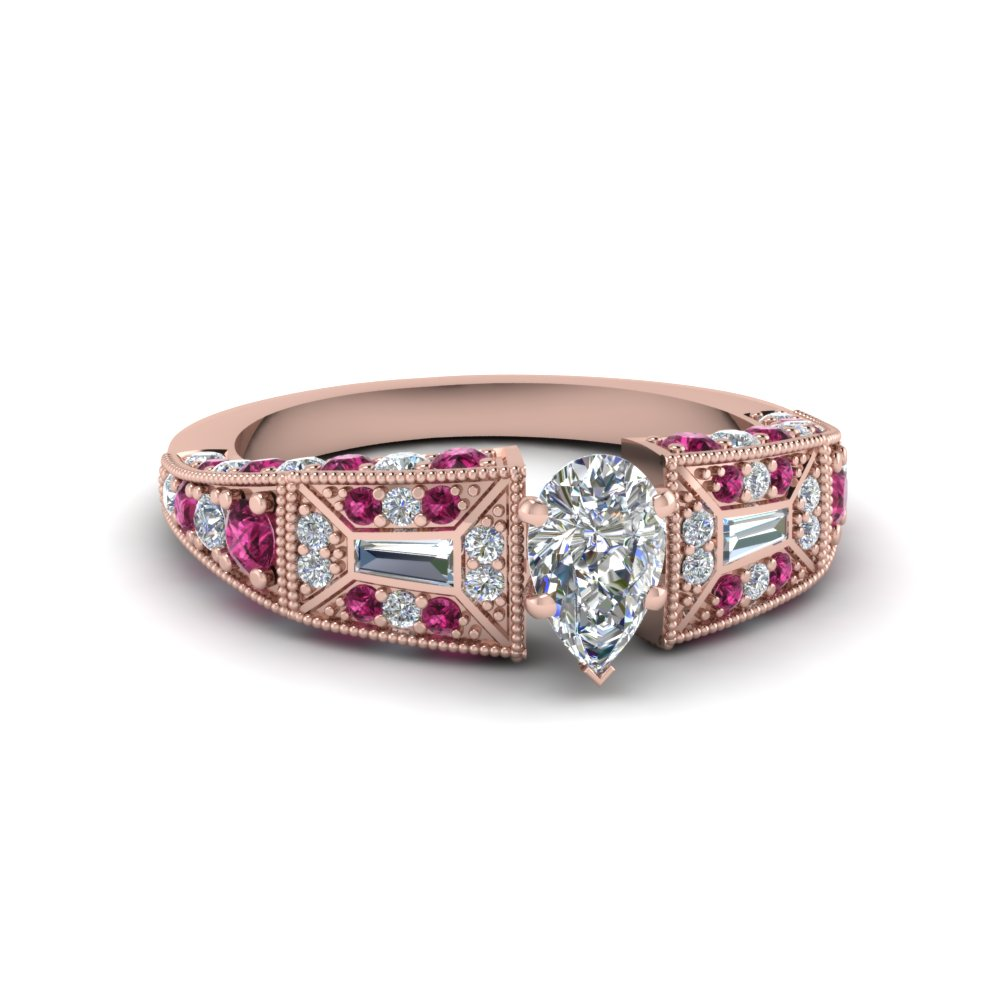 pear shaped victorian vintage style diamond engagement ring with pink sapphire in FDENR8601PERGSADRPI NL RG